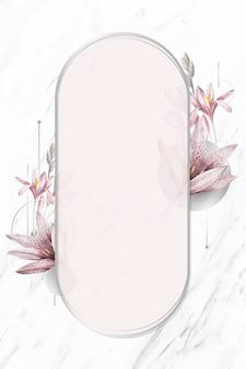 Motif d'amaryllis rose avec vecteur de cadre argenté