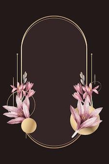 Motif d'amaryllis rose avec vecteur de cadre doré