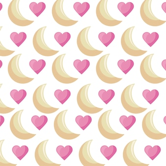Motif d'amour de lunes et de coeurs