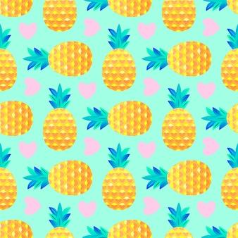 Motif d'ananas et de coeurs