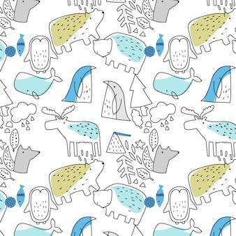 Motif animal dessiné à la main