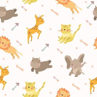 Motif animaux flèches safari