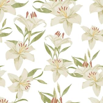 Motif aquarelle de bouquet floral de lys blanc peint à la main