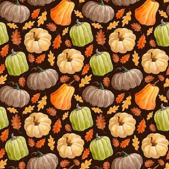 Motif aquarelle avec des citrouilles et des feuilles