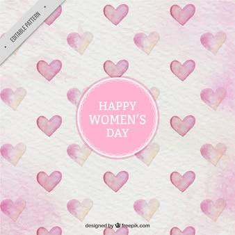 Motif d'aquarelle avec des coeurs pour le jour de la femme