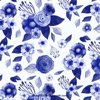 Motif d'aquarelle fleurs bleues dans le style vintage