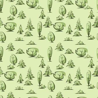 Motif d'arbres verts