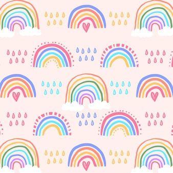 Motif arc-en-ciel coloré dessiné à la main