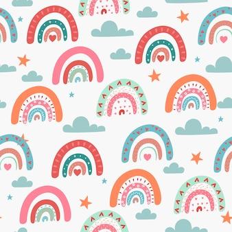 Motif arc-en-ciel sans couture dans un style boho.