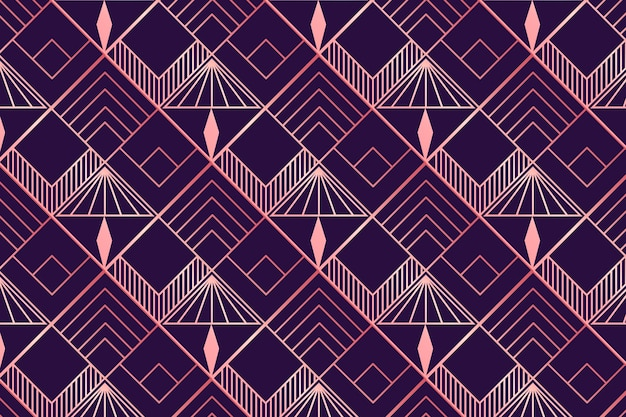 Motif art déco en or rose et violet