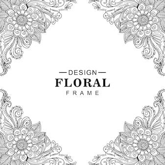Motif artistique du cadre floral décoratif