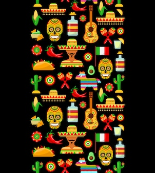 Motif avec attributs mexicains traditionnels