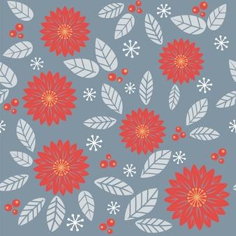 Motif automnal sans couture avec fleurs et feuilles