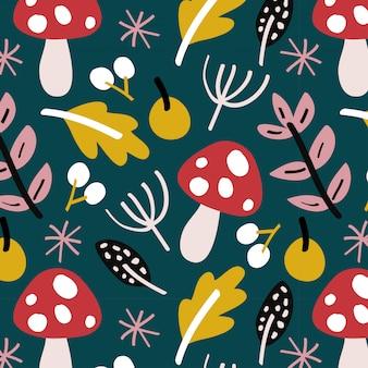 Motif d'automne avec des champignons et des feuilles