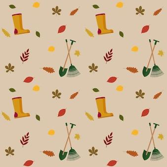 Motif d'automne avec feuillage d'automne, bottes en caoutchouc et outils de jardin. vecteur