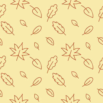 Motif d'automne jaune sans couture avec des feuilles de chêne, de bouleau, d'érable et de bois. arrière-plan sans fin pour les pages web, les textiles, les vêtements, le papier peint. vacances dans le style des gribouillis. dessin de contour vectoriel