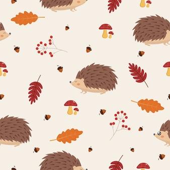 Motif d'automne sans couture avec feuilles et hérisson.
