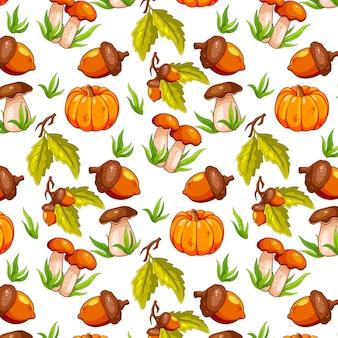 Motif d'automne sans couture avec glands, citrouille et champignons. pour la conception.