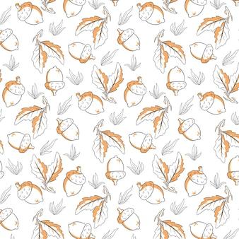 Motif d'automne sans couture avec des glands, de l'herbe et des feuilles de chêne. dans le style de ligne. pour la conception.