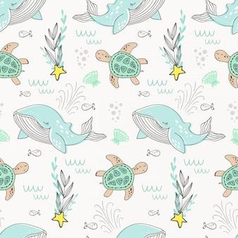 Motif de baleine en dessin animé. fond de la mer
