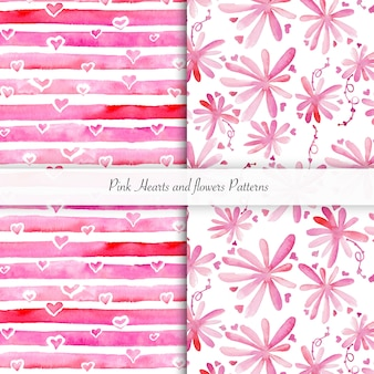 Motif de bandes et de fleurs de coeur rose