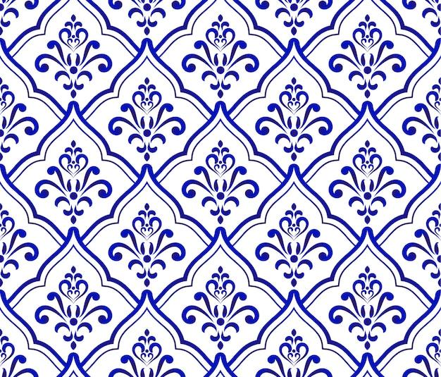 Motif baroque royal et damassé bleu et blanc
