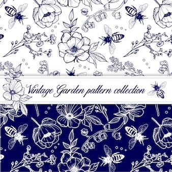Motif à base de plantes élégant contour vintage avec fleurs et abeilles