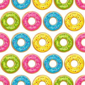 Motif de beignet de couleur. beignets glacés