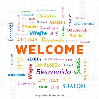 Motif de bienvenue dans différentes langues