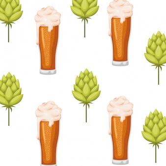 Motif bière avec icône mousse et pomme de pin