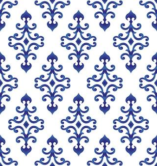 Motif bleu et blanc de style japonais et chinois, fond de porcelaine