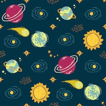 Motif bleu avec des planètes et des galaxies