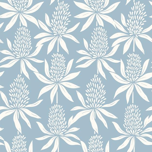 Motif bleu transparente dessiné à la main de fleurs abstraites
