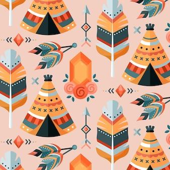Motif boho coloré design plat
