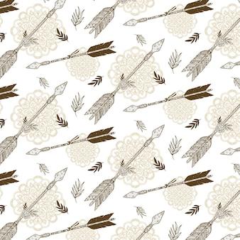 Motif boho dessiné à la main avec des flèches