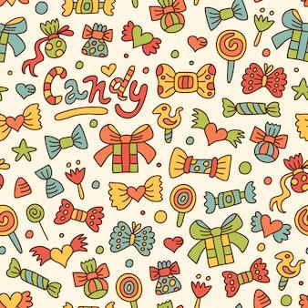 Motif de bonbons doodle sans soudure