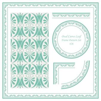 Motif de bordure vintage de feuille de jardin courbe ovale
