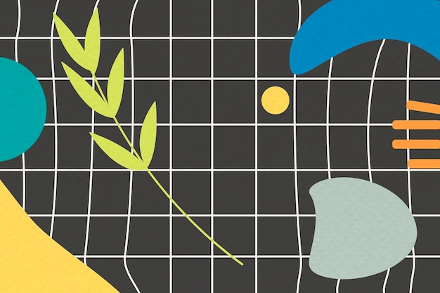 Motif botanique abstrait sur fond de grille noire