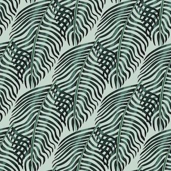 Motif botanique abstrait sans couture avec des formes de silhouettes de fougère sombre. fond pastel clair. impression de griffonnage.