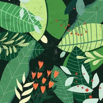 Motif botanique de feuilles vert tropical