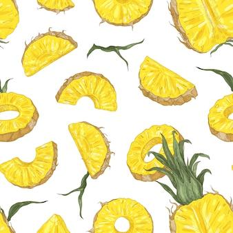 Motif botanique avec des morceaux d'ananas mûrs et des tranches