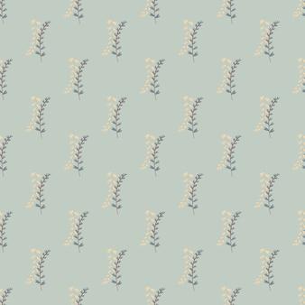 Motif botanique sans couture avec des branches sur fond bleu pastel. éléments à base de plantes dans les couleurs bleues et beiges.