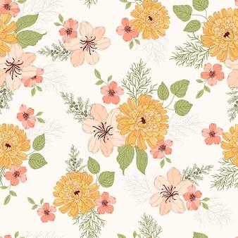 Motif de bouquet de fleurs d'automne