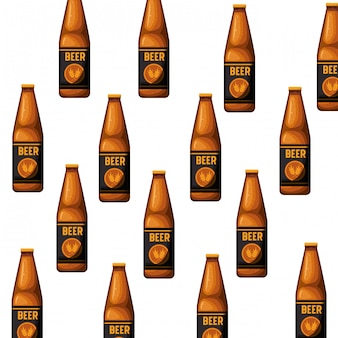 Motif bouteille d'icône isolé bière