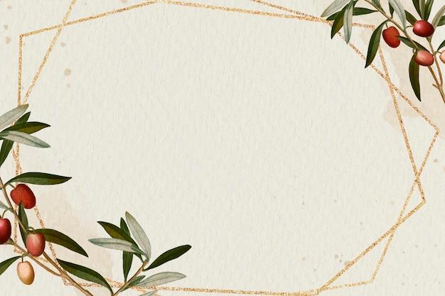 Motif de branche d'olivier cadre doré hexagonal