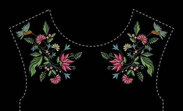 Motif de broderie au point satin avec fleurs et oiseaux. motif tendance floral ligne folk pour l'encolure de la robe. ornement de mode ethnique pour le cou sur fond noir.