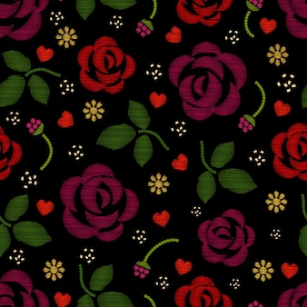 Motif de broderie avec des fleurs roses.