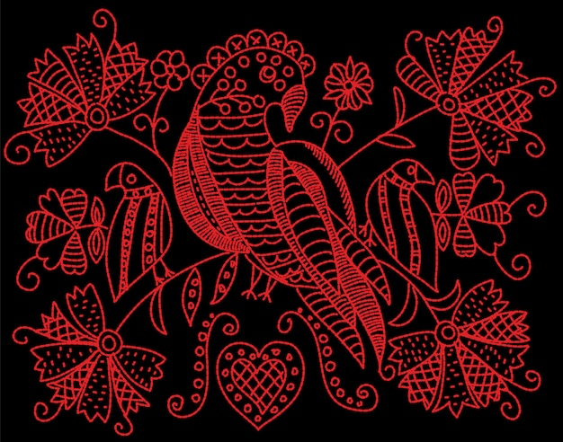 Motif de broderie avec oiseaux et fleurs dans un style folklorique.