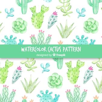 Motif de cactus à l'aquarelle