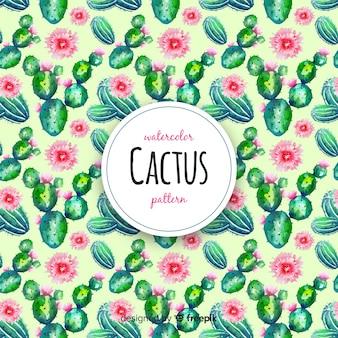 Motif de cactus aquarelle